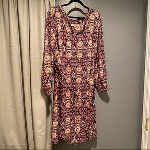 Loft Plus Patterned Tie Waist Dress Sz 26 NWOT